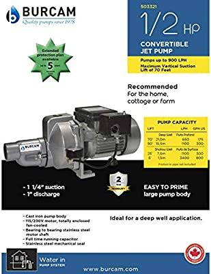 Bur-Cam 503321 BURCAM 1/2 horsepower PRO series convertible Jet Pump, 115/230 volts