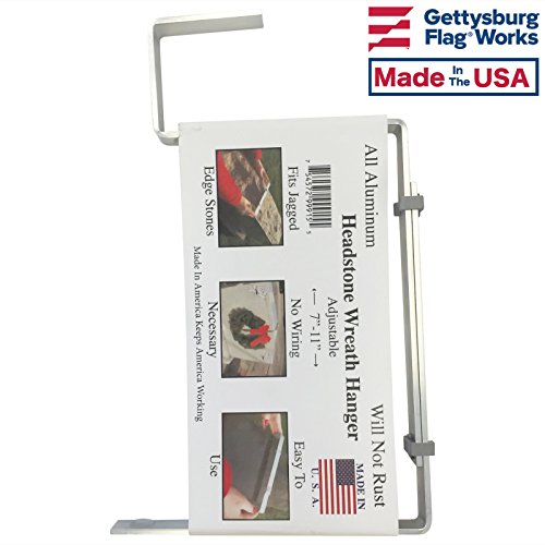 Gettysburg Flag Works Aluminum Headstone Wreath Hanger for Cemetery Tombstone, Grave Marker, Made in USA -