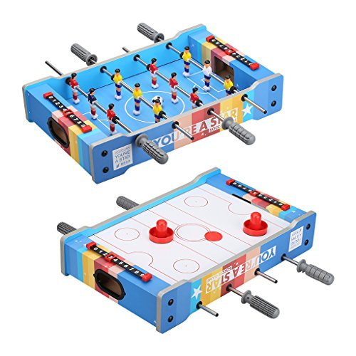 Combination Foosball Air Hockey Table - 2 IN 1 Tabletop Foosball Table and Air Hockey Table for Kids - Portable Mini Double-sided Table Football Table Air Hockey Soccer Game Set for Children and Adults