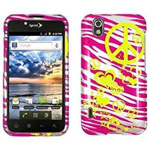 Unlimited Cellular LGLS855-SC-WS-2DCDI034 Snap-On Protector Case For LG, Marquee - Hot Pink Zebra Skin With Famous Logo 2D Cr