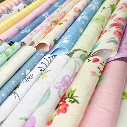 60pcs Quilting Fabric Squares Sheets 60 Different Lovely Floral Pattern Pack Assorted Sewing Fabric for Craft 10x 10 (25 cm x 25 cm)100% Cotton