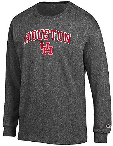 Champion Houston Cougars Granite Heather Campus Long Sleeve Tee Shirt - Practice Football T-shirt Cougars