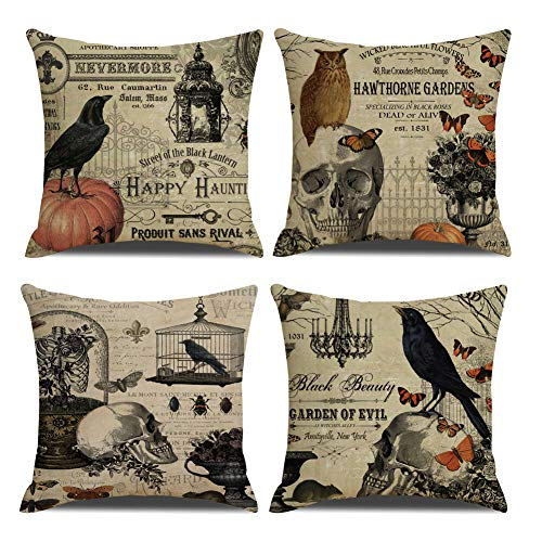 Vintage Halloween Material (QIQIANY Pack of 4 Vintage Halloween Decoeative Throw Pillow Covers 18''x18'' Owl Crow Pumpkin Skull Halloween Throw Pillow Cases Home Decor Cushion Covers for Sofa)