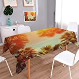 Anmaseven Palm Tree Oblong Customized Tablecloth Trees in Sunlights Tranquility in Tropical Nature Landscape at Summer Theme Stain Resistant Wrinkle Tablecloth Orange Green Size: W54 x L72