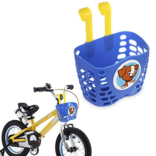 Mini-Factory Kids Bike Basket, Cute Puppy Pattern Bicycle Handlebar Basket for Boys - Blue Puppy