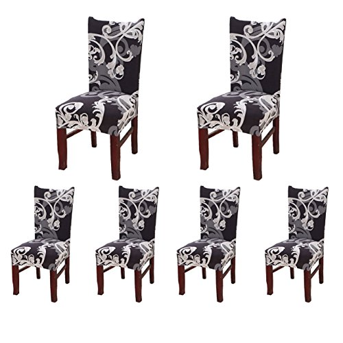 SoulFeel Set of 6 x Stretchable Dining Chair Covers, Spandex Chair Seat Protector Slipcovers for Holiday Banquet, Home Party, Hotel, Wedding Ceremony (Retro Style) from SoulFeel