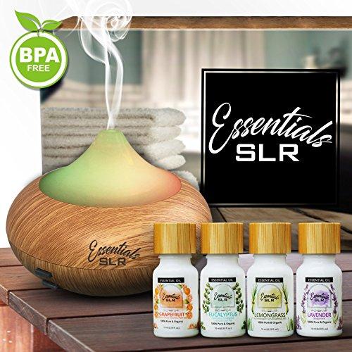 SLR 140ml Aromatherapy Essential Oil Wood Grain Diffuser BPA Free w/The Relaxation 4 Pack USDA Certified Organic Oils [Eucalyptus, Grapefruit, Lavender, Lemongrass]
