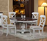 Sunset Trading 5 Piece Andrews Butterfly Leaf Dining Set, Antique White For Sale
