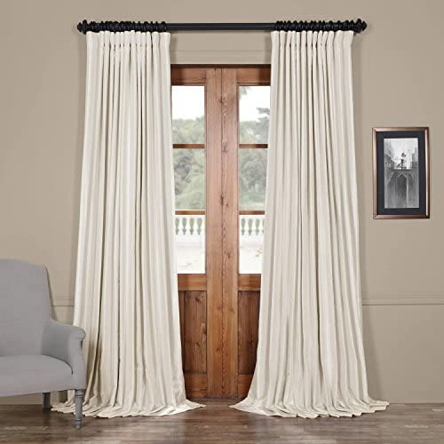 HPD Half Price Drapes PDCH-KBS2BO-108-DW Blackout Extra Wide Vintage Textured Faux Dupioni Curtain 1 Panel , 100 X 108, Off White