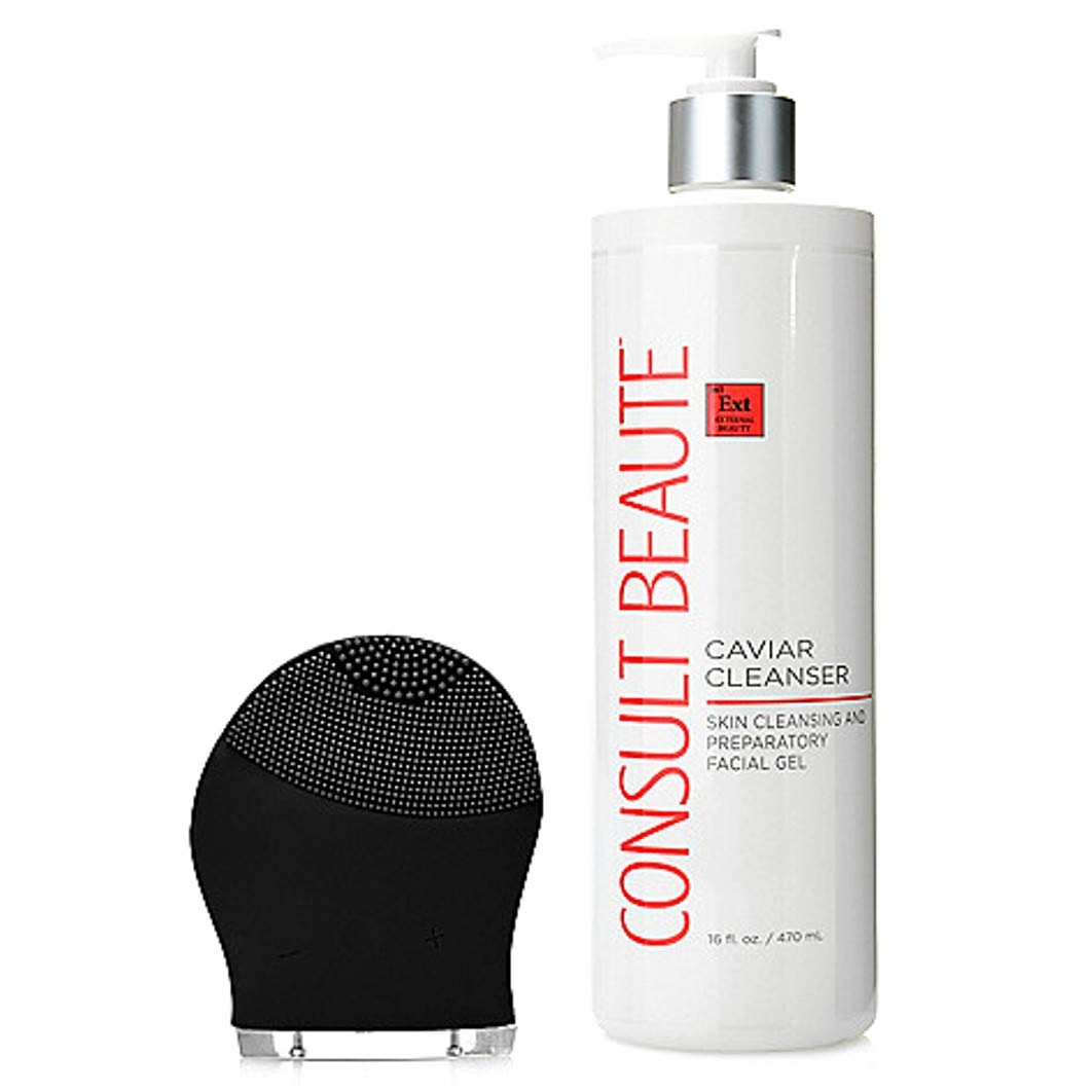 Consult Beaute Black Multi Speed Sonic Cleansing Tool w/Caviar Cleanser 16 oz