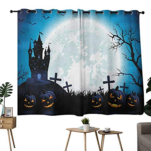 homecoco Halloween Grommets Sunbeams Isolated Darkening Curtains Spooky Concept with Scary Icons Old Celtic Harvest Figures in Dark Image Holiday Print Bedroom/Living Blue W72 x L63