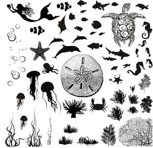 Sea Life Black Enamel Decals - Enamel Decal Black Fusible