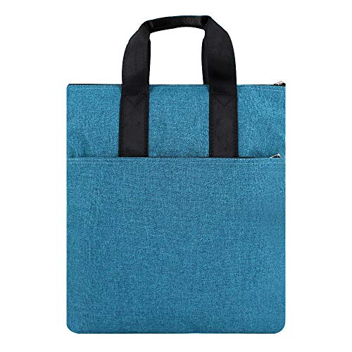 CLARA Vertical Portable Canvas Briefcase Waterproof Zipper Document Handbag File Organizer Tote Bag Blue