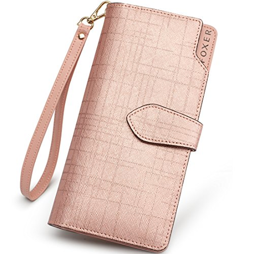 (FOXER Women Leather Wallet Bifold Wallet Clutch Wallet with Wristlet Card Holder (Rose Gold2))