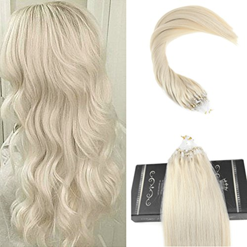 Ugeat 50Gram 50Strands 30inch Micro Loop Hair Extensions Silky Straight Platinum Blonde Microring Extensions Human Hair Natural