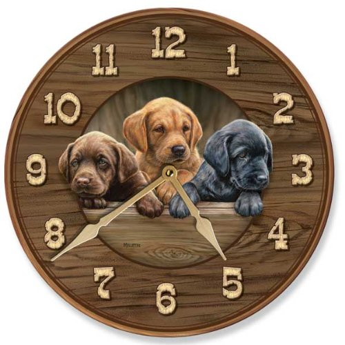 Wild Wings All Hands on Deck - Puppies Round Clock by Rosemary Millette