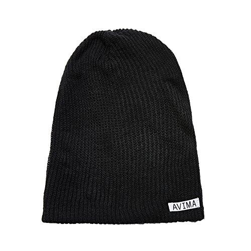 AVIMA Reversible Beanie Hat for Men, Women & Kids in Many Colors | Stretchy, Comfy, Slouchy & Snug Cap Woven Design| Improve Your Looks, Mix & Match with Outfits, Warm Your Head (Black and Grey)