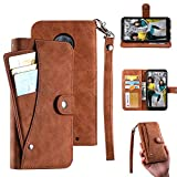 Moto G6 Plus Case,Moto G6 Plus Wallect Case, Flip Leather Case 5 Cards / 1 Photo Slot/Cash Pocket PU Cover with Wrist Strap [Wallet Stand] Phone Case for Moto G6 Plus (Brown)