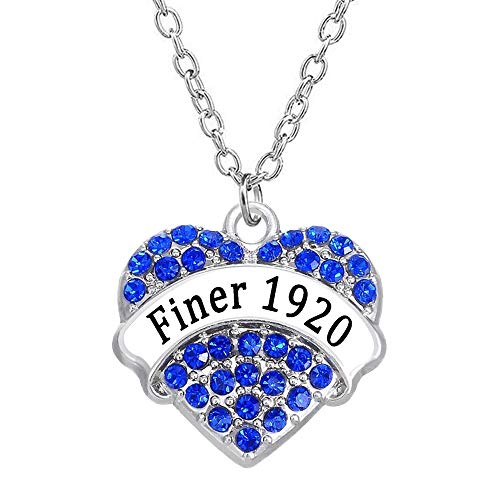 genbz Fashion Greek-Lettered Sorority Jewellery Finer 1920 Heart Rhinestone Crystal Charm Necklace for Zeta PHI BETA Society Souvenirs(Blue,one Size)