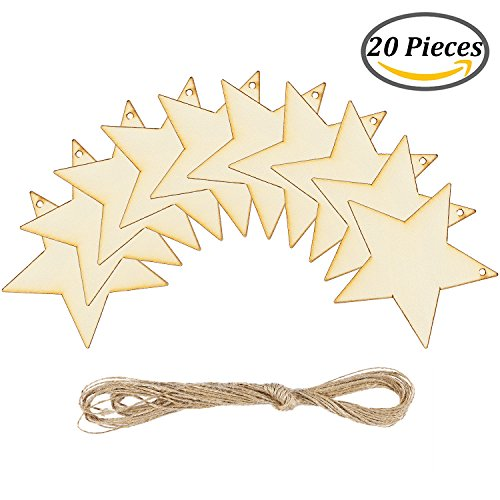 Wood Star Ornaments (Coobey 20 Pieces Wooden Star Hanging Christmas Ornaments with Twine for Festival Decoration,DIY Project or Wedding)