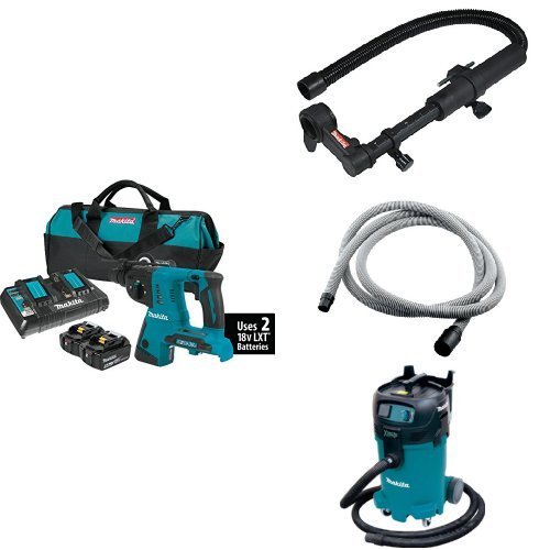 Makita XRH05PT 18V X2 LXT (36V) 1-Inch Rotary Hammer Kit, 193472-7 Dust Extraction Attachment, 192108-A 3/4-Inch by 10-foot Vacuum Hose, VC4710 12-Gal Xtract Vac Wet/Dry Dust Extractor/Vacuum