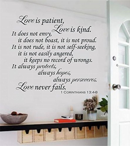 Enchantingly Elegant Love Is Patient Love Is Kind Christian Bible Verse Vinyl Decal Wall Sticker Words Letters  - Black Matte, 43