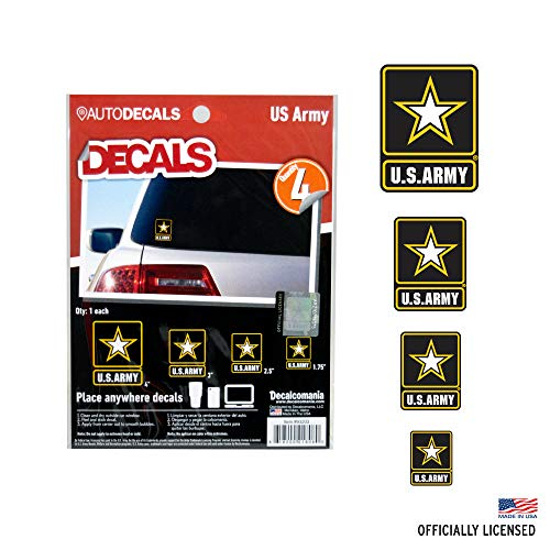 Officially Licensed U.S. Army Decals - 4 Piece US Military Stickers for Truck or Car Windows, Phones, Tablets & Laptops - Large Military Decals 1.75 to 4 Inches - Car Decals Military Collection (Army Sticker Window)
