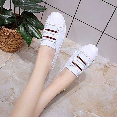 holgazán la del de de Mujeres Mujeres clásicas de Planos Moda Zapatos Las Las Cuero GAOPF de Blanco Bajas Las Zapatillas 6nqgZwx