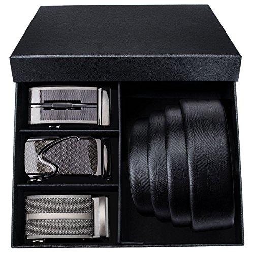 Designer Belts for Men Automatic Buckles Metal Genuine Leather Ratchet Belt Gift for Father Day Barry.Wang (Mens Designer Fashion)