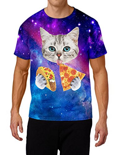 Raisevern Womens Galaxy Tacos Cat Printed Graphic T Shirt Tops, XX-Large, Pizza Cat4