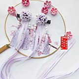 Antique Chinese Costume han Chinese Clothing Accessories Silk Ribbon Hairpin Side Folder Hair Clip Barrette Cosplay Costume Dress Headdress Girls (one Pair of Purple Silk Flower
