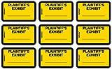 """Tabbies Legal Exhibit Labels, Label: 1-5/8""""W x 1""""H, Sheet: 5-1/4""""W x 3-1/4""""H, Yellow,""""PLAINTIFF'S Exhibit"""" 252 Labels/Pack"""