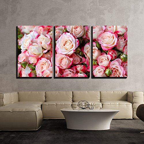 wall26 - 3 Piece Canvas Wall Art - Roses Background - Modern Home Decor Stretched and Framed Ready to Hang - 16