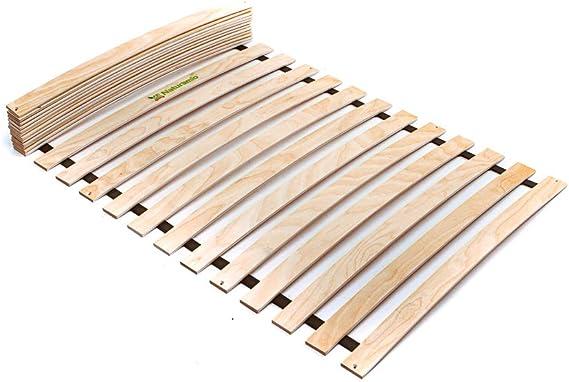 Naturamio - Somier enrollable con 24 listones de madera de abedul (120 x 200 cm), madera, 120 x 200 cm