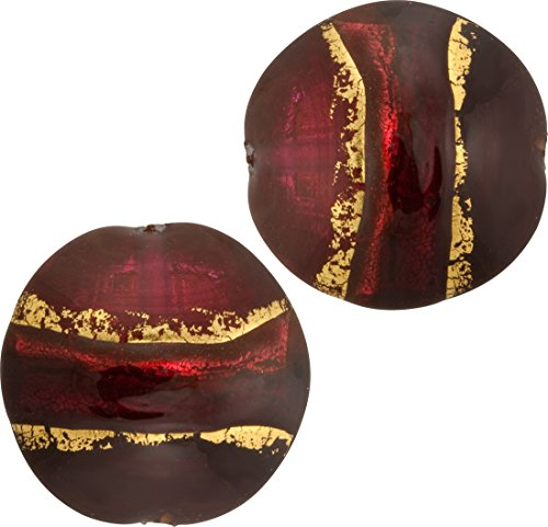 Red Gold Band Puffy Disc 16mm 2 Pieces Murano Glass Bead
