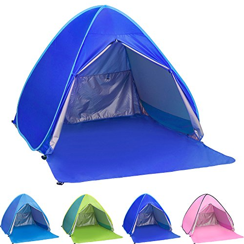 Ylovetoys Pop Up Beach Tent, 2-3 Persons Instant Beach Tents Sun Shelter Anti-UV Cabana Shade Waterproof Family Tent for Beach Camping Fishing Hiking or Picnic (Dark Blue) Compact Pop Up
