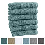 Great Bay Home 6-Pack 100% Cotton, Ultra-Absorbent Popcorn Hand Towels. 6 Elegant Solid Colors. Popcorn Weave. Acacia Collection. (Hand 6pk, Mineral Blue)