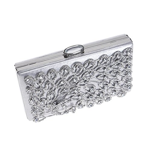 Bag Ladies JESSIEKERVIN Clutch Diamonds Bag Purse Banquet Evening Dress Silver Peacock Party Wedding AvqqrxIY