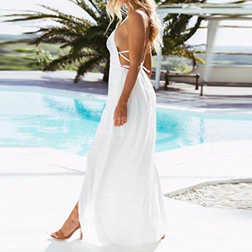 Blanc Fathoit Splicing Sexy Nu Sans Split Dress Dentelle Chic Femmes Maxi En Robe Dos Longue Camisole Manches Plage Mousseline Party De Soie Femme Robe rgOrUPq