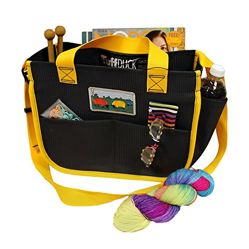 Shoulder Bag Crafters Carry-All with Sunburst Yellow Trim for knitters, spinners, cross stitchers, needlepointers, and crocheters. (7-55M). Features eleven roomy pockets. ()