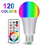 Sunnest 120 Colors LED Light Bulb, 10W RGB+W Dimmable E26 LED Bulb, Color Changing Light Bulb with Remote Control, Timing, Dual Memory Function, Decorative Lamp, Great for Home Decor Stage Party More