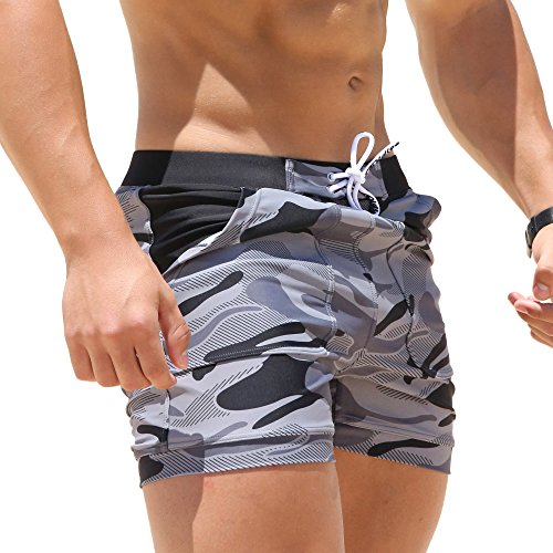 Taddlee Swimwear Men Basic Long Swimming Trunk Surf Camo Shorts Swimsuits Pocket Gray Medium (Mens Swin Briefs)