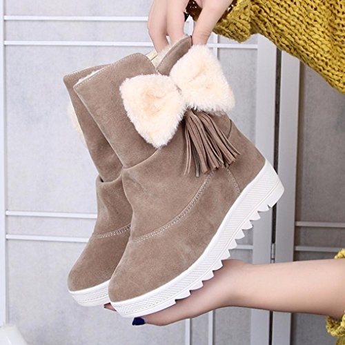 Shoes Women Boots Short Ladies Boots Decor Bowknot Party Transer® Tassel Khaki Winter Warm wxfTPRCqUn