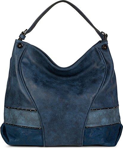 styleBREAKER bolso para compras con remaches y un motivo ornamental suave, bolso de hombro, bolso de bandolera, señora 02012197, color:Negro Azul oscuro