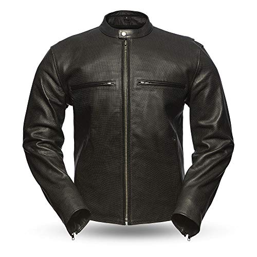 First Mfg Co Perforated naked cowhide Men's Leather Motorcyle Jacket (Black, Small)