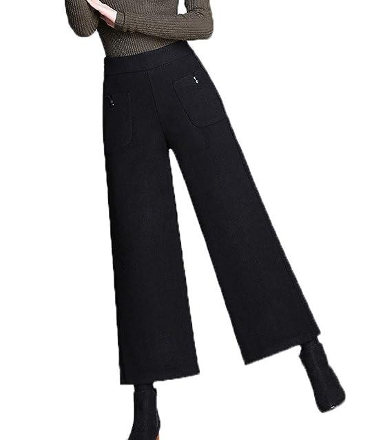 Nuovo Donna Gamba Larga Pantaloni di Lana Tinta Unita Pants