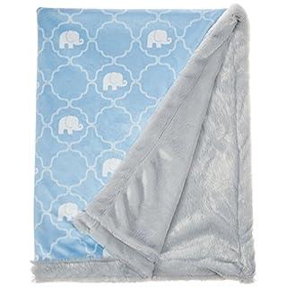 Hudson Baby Unisex Baby Plush Blanket with Furry Binding and Back, Elephant, One Size