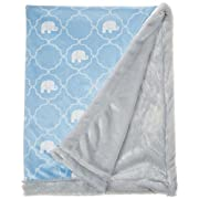 Hudson Baby Plush Blanket with Furry Binding & Back, Elephant