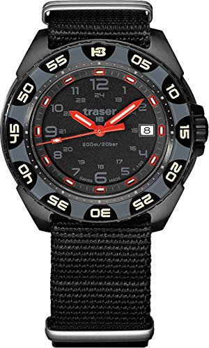 Traser P49 Red Alert T100 Watch with NATO Strap