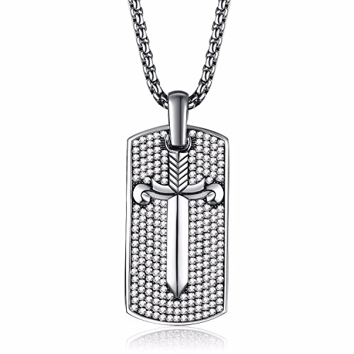 Caperci Sterling Silver Diamond Iced Out Dog Tag Sword Pendant Necklace for Men, 28'' (Pendant Tag Sword Dog)